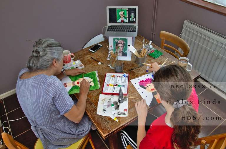 overhead angle of participants in an online art tutorial