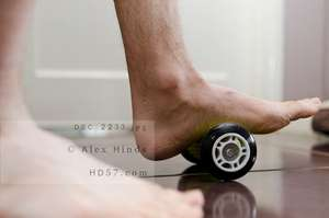 Using foot roller to treat plantar fasciitis